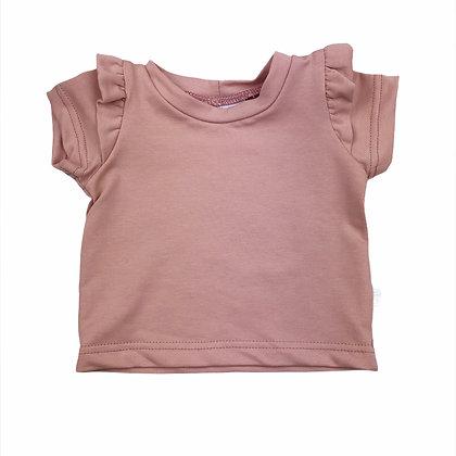 Shirt ruffle oud roze korte mouw