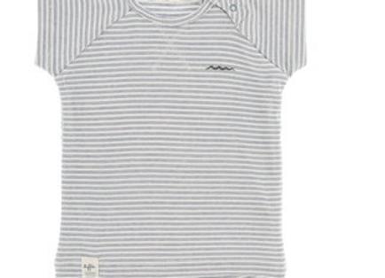 Riffle T-shirt blauw en grijsgroene streep
