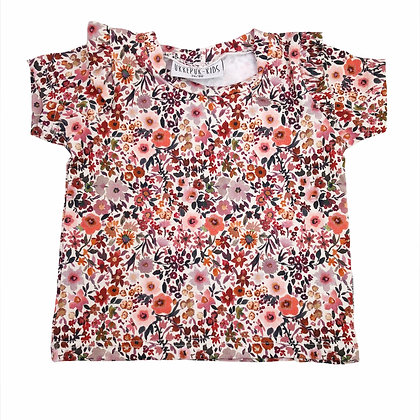 Shirt ruffle wilde bloemen korte mouw