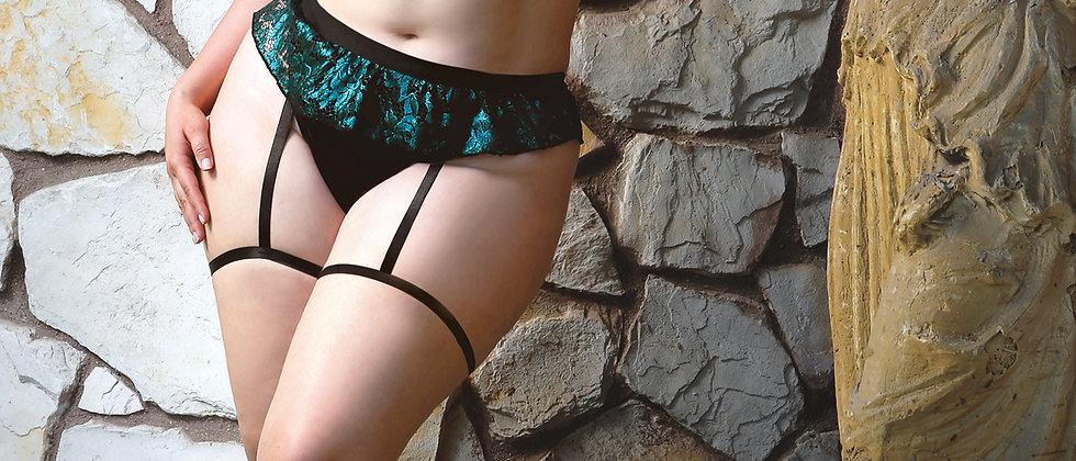 Shades of Envy Ruffled Metallic Lace Bra and Matching Panty