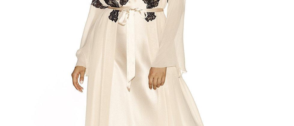 Morgan Charming Long Silk Robe in Champagne