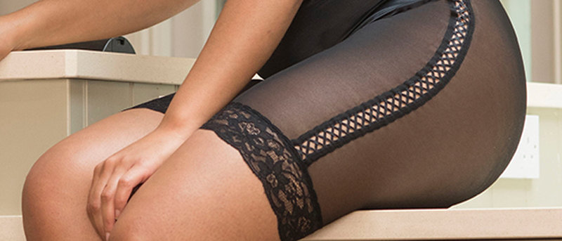 Vintage Satin & Lace Shorts – Black