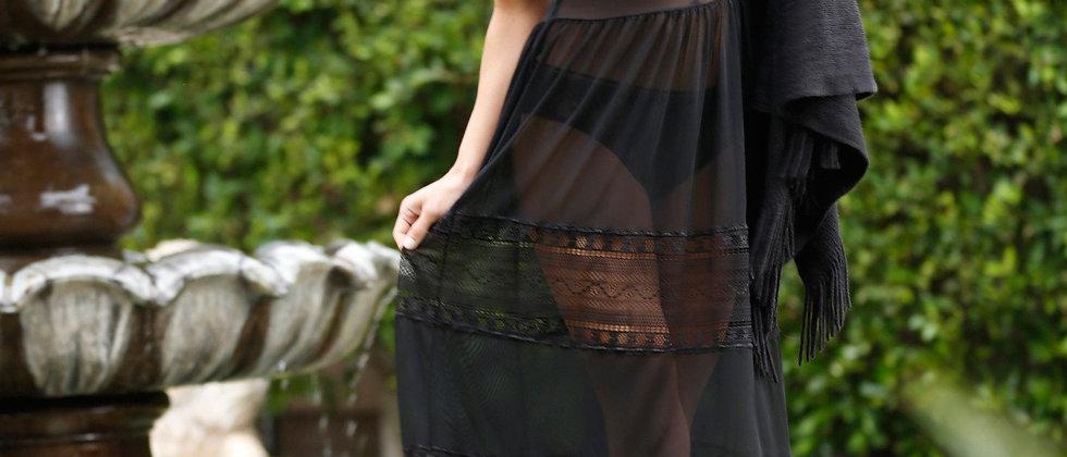 Mystic Mesh and Lace Maxi Dress