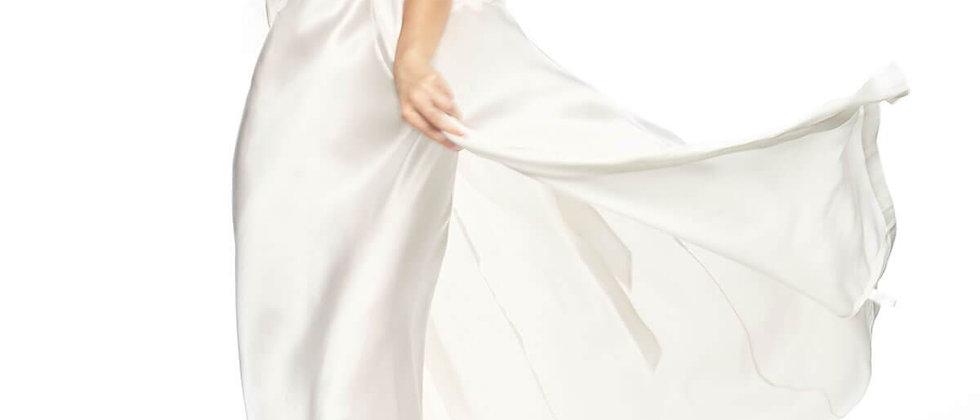 Jezebel After-Dark Long Silk Kimono in Ivory