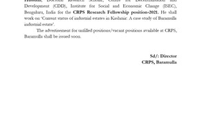 Result Notification: Mr. Sardar Babur Hussain selected for CRPS Research Fellowship position-2021