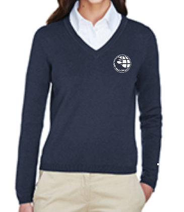 D475W Devon & Jones Ladies' V-Neck Sweater