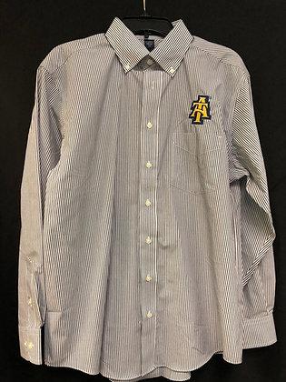 NCA&T079 Men's Striped Button Up Dress Shirt