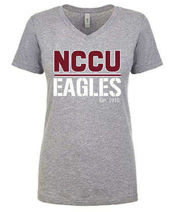 NCCU062 Grey Ladies V-neck Tee