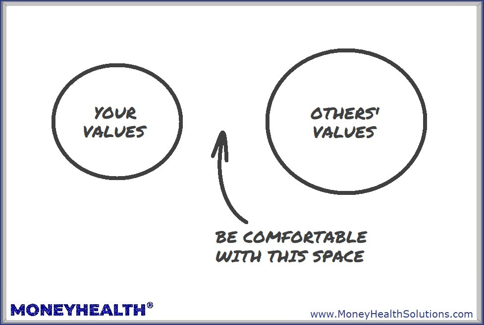 be comfortable with the space between yours and someone else's values - we all have different values