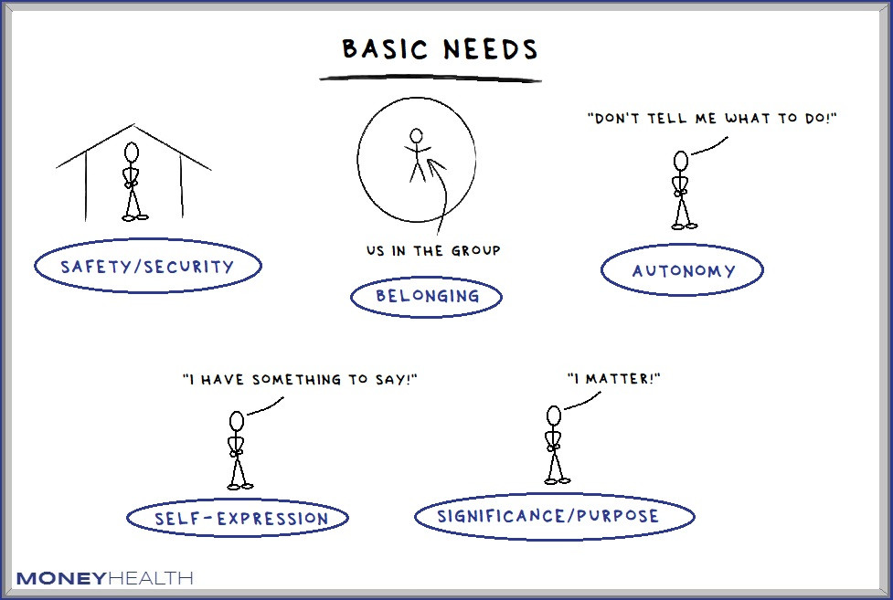six basic human needs, safety, belonging, autonomy, self-expression, purpose