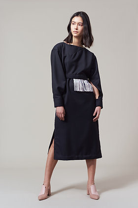 Edel Traynor Woolen Dress with Detachable Fringing