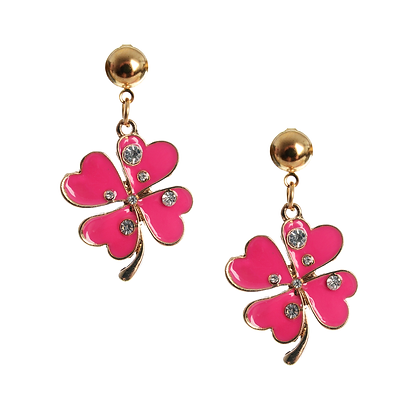 Double The Luck Pink Clover Earrings