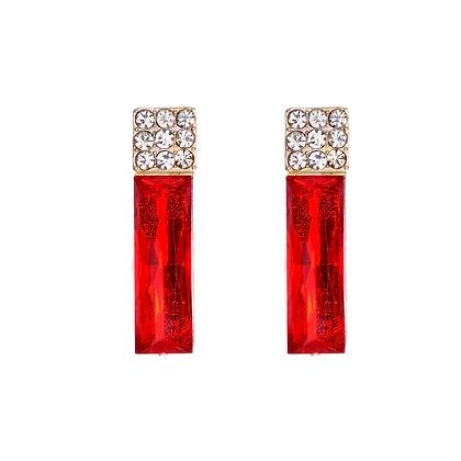 Red & Rhinestone Earrings