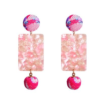 Alaza Pink Pom Earrings