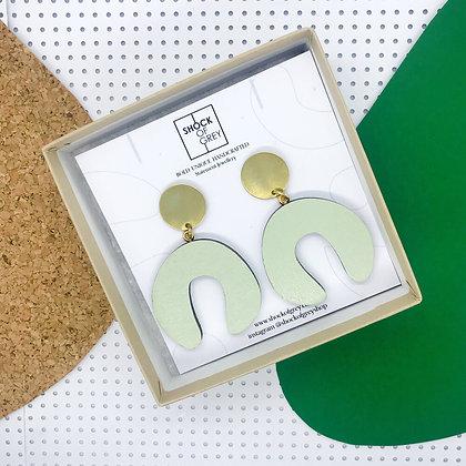 Shock of Grey D Doodle Earrings in Sage Green
