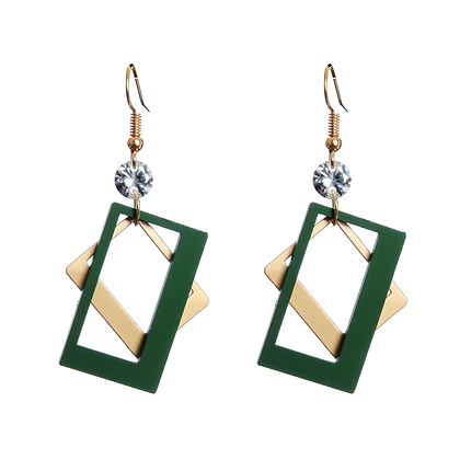 Green Askew Earrings