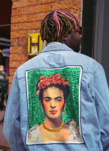 Vintage denim jacket with Frida Kahlo motif from Homme Diva