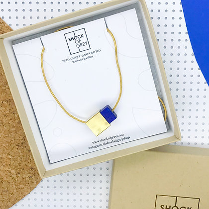 Shock of Grey Box Cube Pendant in Blue