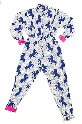 You're Only Gorgeous White & Blue Pony Jumpsuit