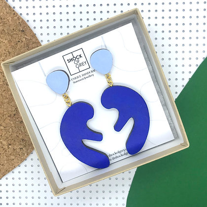 Shock of Grey Matisse Earrings in Blue