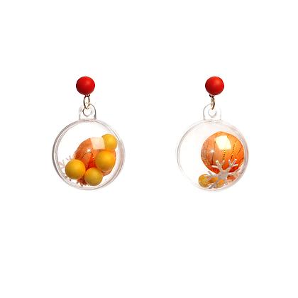Orange Glitter Bomb Earrings