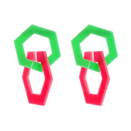Neon Pentagon Earrings