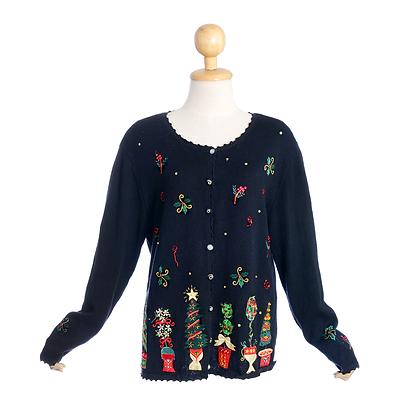Christmas Holly Vintage Cardigan
