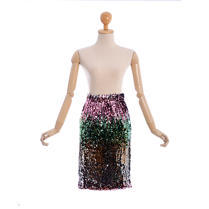 Celestial Sequin Skirt in Pink