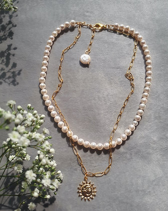 Tatiana Nestor Fresh Water Pearl & Sun Necklace
