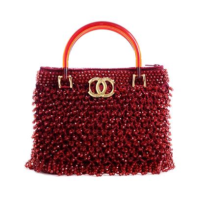 Crimson Beaded Vintage Bag