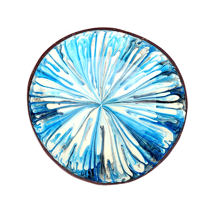 Blue Paint Drip Coconut Bowl
