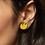 Thumbnail: Shock of Grey Tulip Handpainted Wooden Stud in Yellow