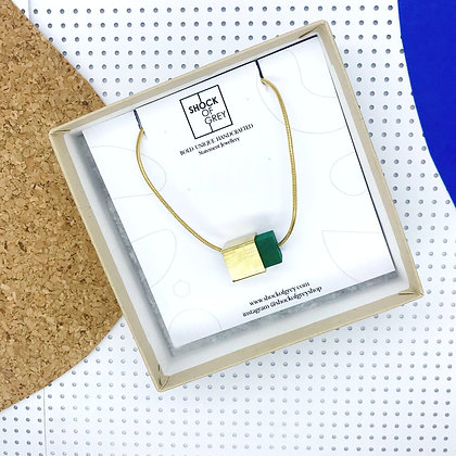 Shock of Grey Box Cube Pendant in Green