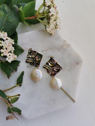 Tatiana Nestor Silver Pearl Earrings