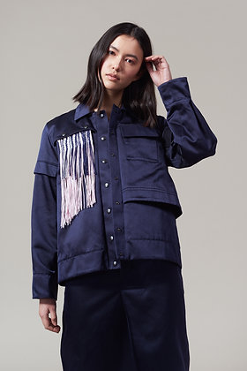 Edel Traynor Silk Cotton Jacket with Detachable Fringing