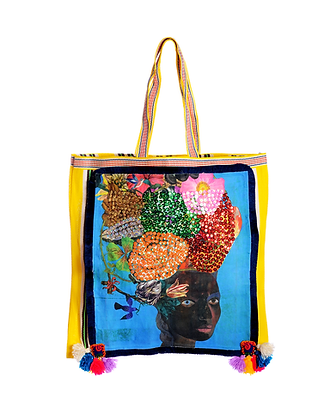 Lady With A Flowering Headdress Large Shopper