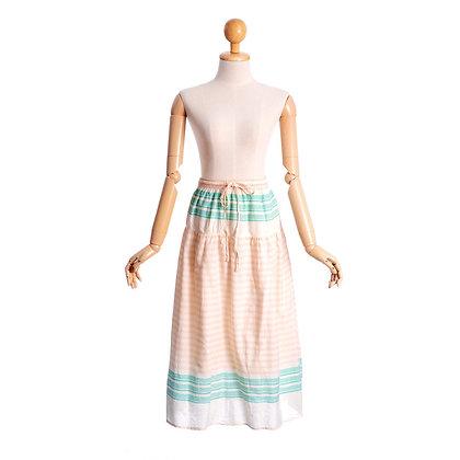 Peach & Mint Crisp Cotton Vintage Skirt
