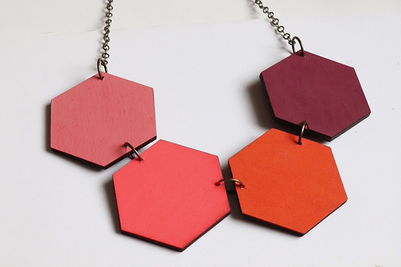 Sandia Wood Hexagon Reversible Necklace