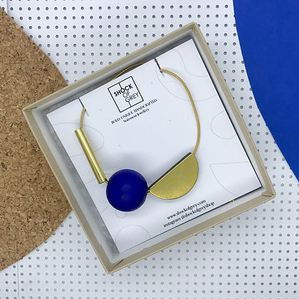 Shock of Grey Multishape Necklace in Blue