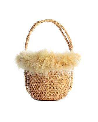 Small Canary Marabou Basket Bag