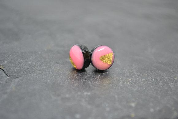 Ciara O'Neill Yellow Gold Leaf Pink Coko Earrings