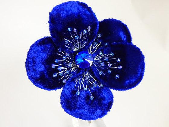 Tatiana Nestor Royal Blue Flower Brooch