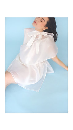 Anna Buzan 100% White Silk Organza Dress