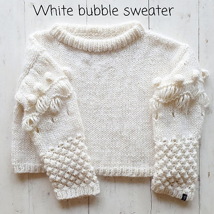 Knitted4Beasts White Bubble Sweater