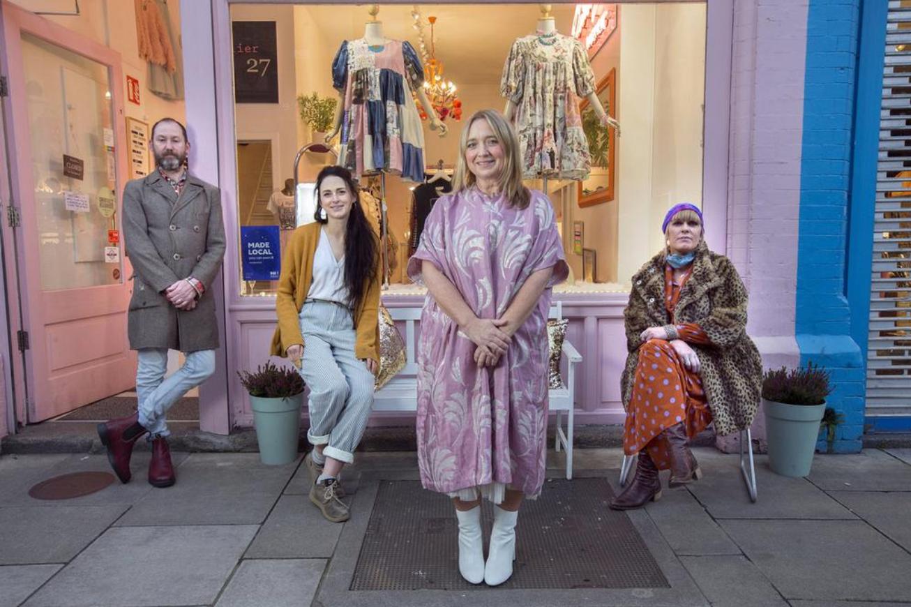 Local business representatives Jonathan Mitchell, Aisling Walsh, Ruth Ní Loinsigh, and Iseult McCormack at OM Diva on Drury Street, Dublin. Photo: Tony Gavin