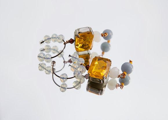 Nordic Root Crystal Bead Ear Hoops