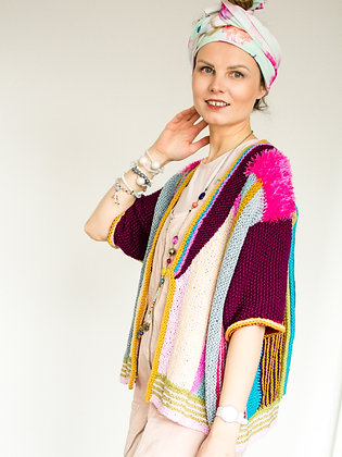 ONA by Agne 'Colours of Life' Maroon Stripe Cardigan