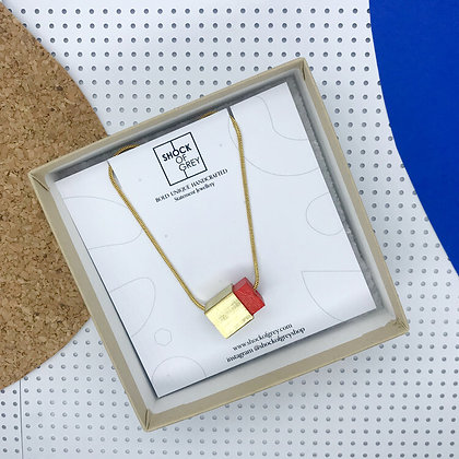 Shock of Grey Box Cube Pendant in Red