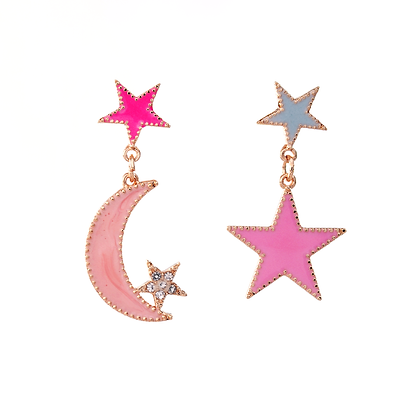 Crescent Moon and Shining Star Earrings