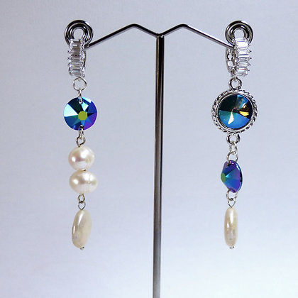 Tatiana Nestor Blue Stone & Fresh Water Pearl Earrings